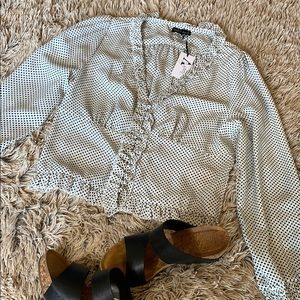 Wishlist apparel, Large, Black & White polka dot